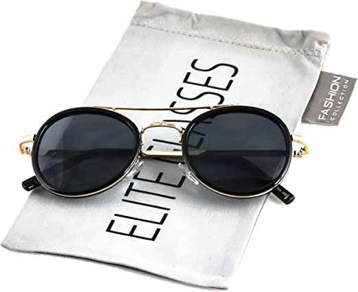 Classic Retro Men Fashion Metal Aviator/'s Vintage Designer Sunglasses Silver BL