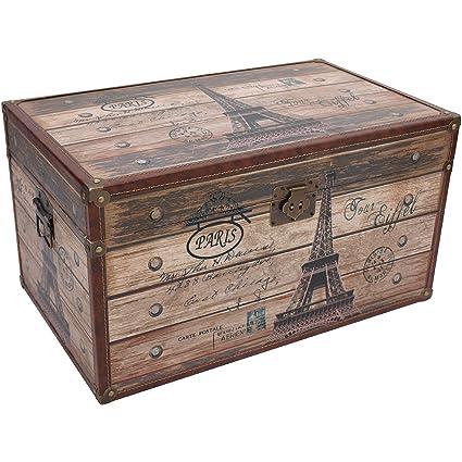 Baúl Paris Torre Eiffel 59 x 32 x 36 cm Caja de madera Cofre del Tesoro