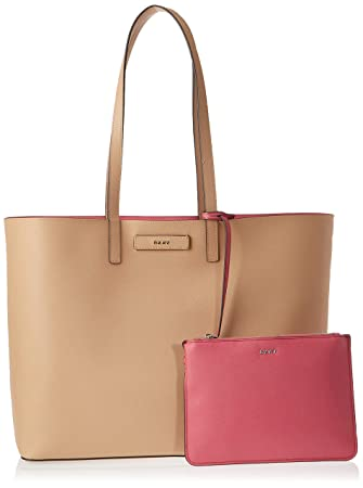 DKNY Womens Brayden Large Reversible Tote Bag - Latte/Pink ...