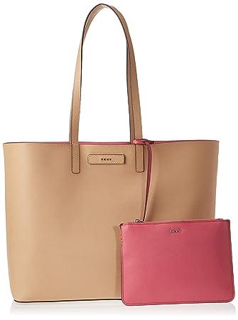 DKNY Womens Brayden Large Reversible Tote Bag - Latte/Pink ...
