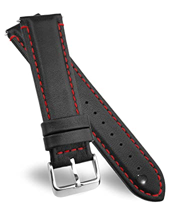 33796e65ed2 20mm Leather Watch Bands by DURA STRAPS I Elegant Red Stitches I Sweat  Resistant Waterproof I