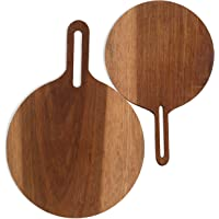 Kordes Set of Two Round Teak Cutting Board - Cheese and Appetizer Serving Board - Charcuterie Board