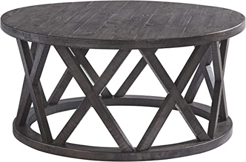 Signature Design by Ashley – Sharzane Round Sofa Table, Grayish Brown