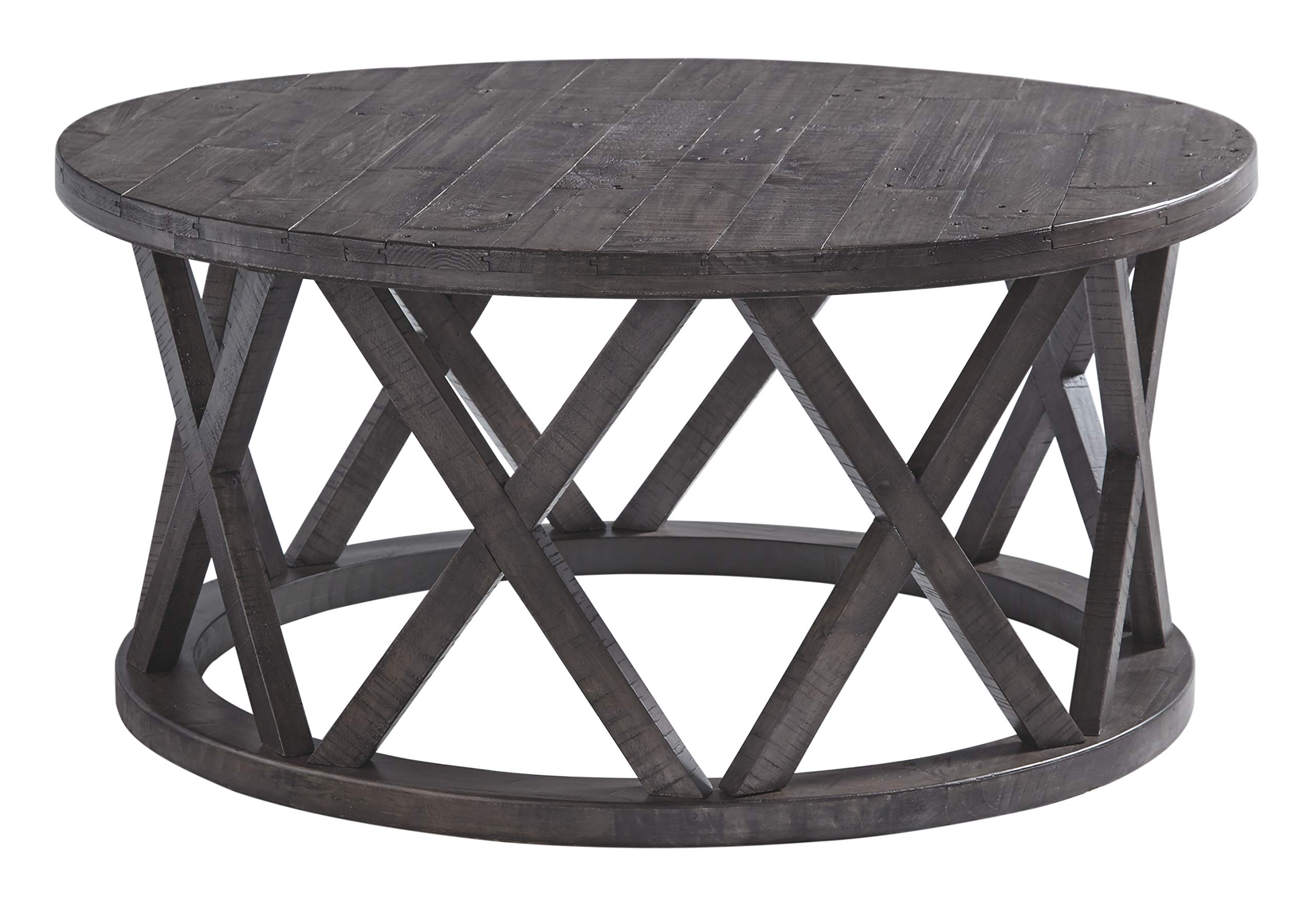 Signature Design by Ashley T711-8 Sharzane Round Cocktail Table, Grayish Brown by Signature Design by Ashley