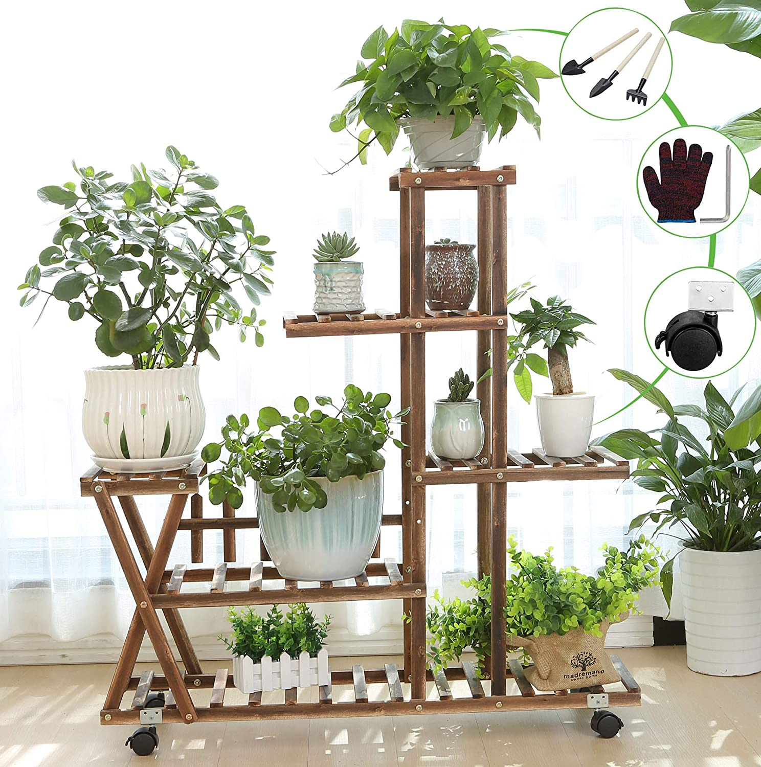 Wooden Plant Stand Shelf 5 Tier with Wheels Flower Pot Holder Display Multi-Shelvings Storage Rack for Plants Displaying Home Garden Patio Corner Outdoor Indoor (39.4inch-X3 Wheels)
