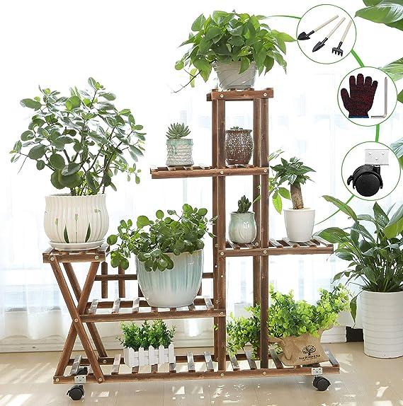 5 Tire Metal Plant Stand Flower Display Flower Shelf Rack Home Garde