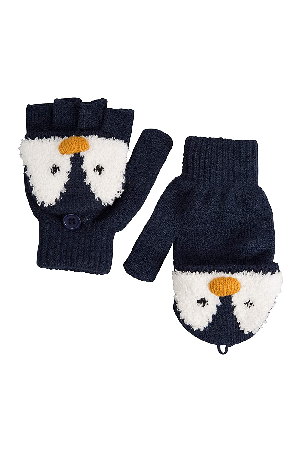Mountain Warehouse Penguin Knitted Kids Glove - Warm, Lightweight, Knitted & Elasticised Band, Stretches for a Comfortable Fit - Great When Out & About Blue