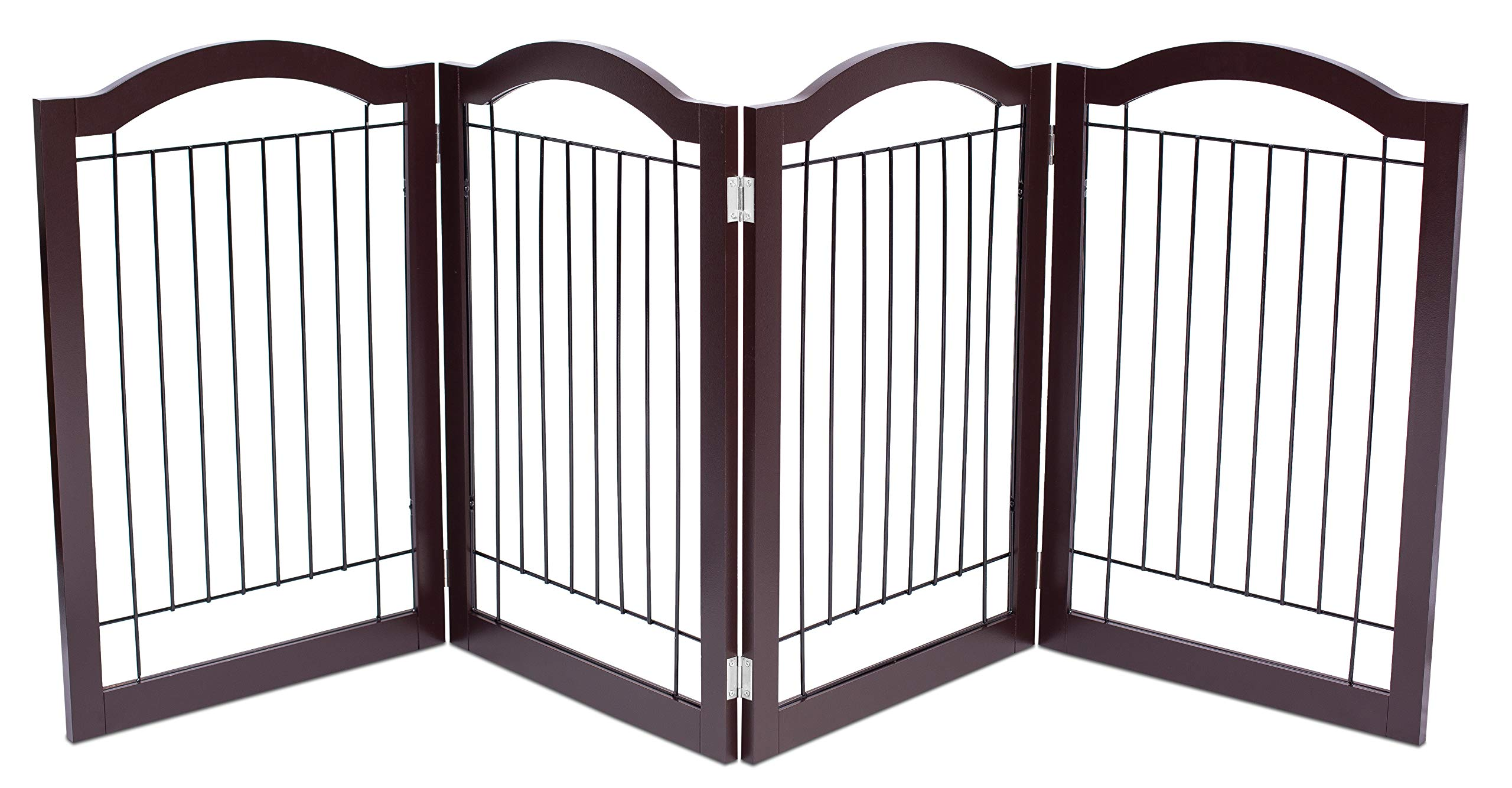 Internet's Best Wire Dog Gate with Arched Top - 4 Panel - 30 Inch Tall Pet Puppy Safety Fence - Fully Assembled - Durable Wooden - Folding Z Shape Indoor Doorway Hall Stairs Free Standing - Espresso by Internet's Best