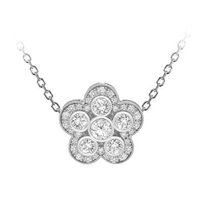 Tuscany Silver Sterling Silver Rhodium Plated Cubic Zirconia Flower Adjustable Necklace of Length 46cm icaKaRxR