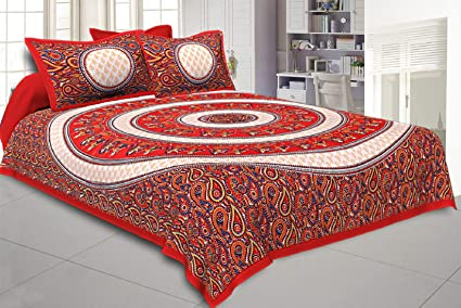 51c1393c33f Image Unavailable. Image not available for. Colour  Kuber Industries  Dandiya Design 144 TC Cotton Double Bedsheet with 2 Pillow Covers ...