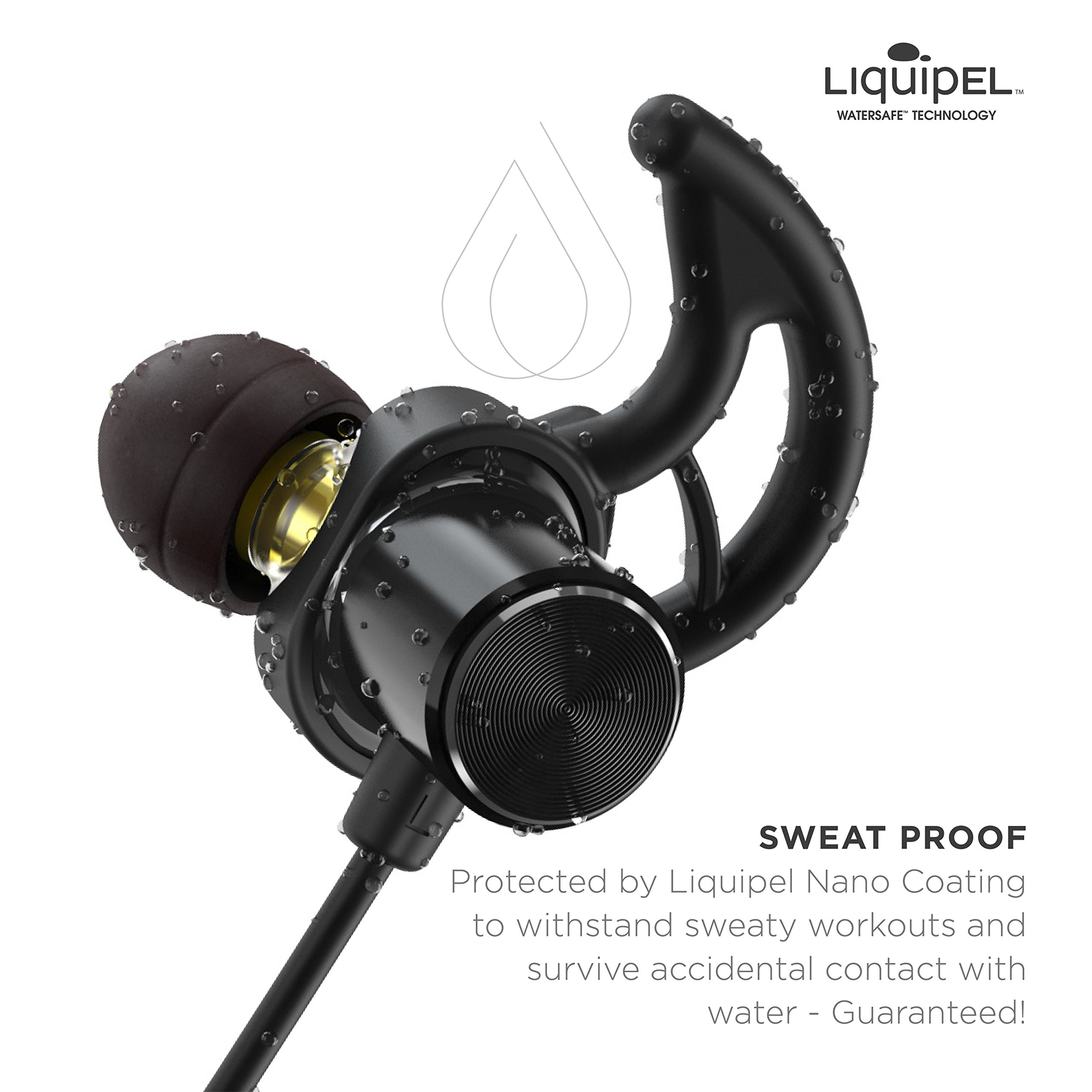 Phaiser BHS-790 Bluetooth Headphones with Dual Graphene Drivers and AptX Sport Headset Earphones with Mic and Lifetime Sweatproof Guarantee - Wireless Bluetooth Earbuds for Running, Blackout by Phaiser (Image #6)