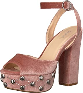 b48961ca5a Qupid Women's Chunky Heeled with Studded Platform Sandal