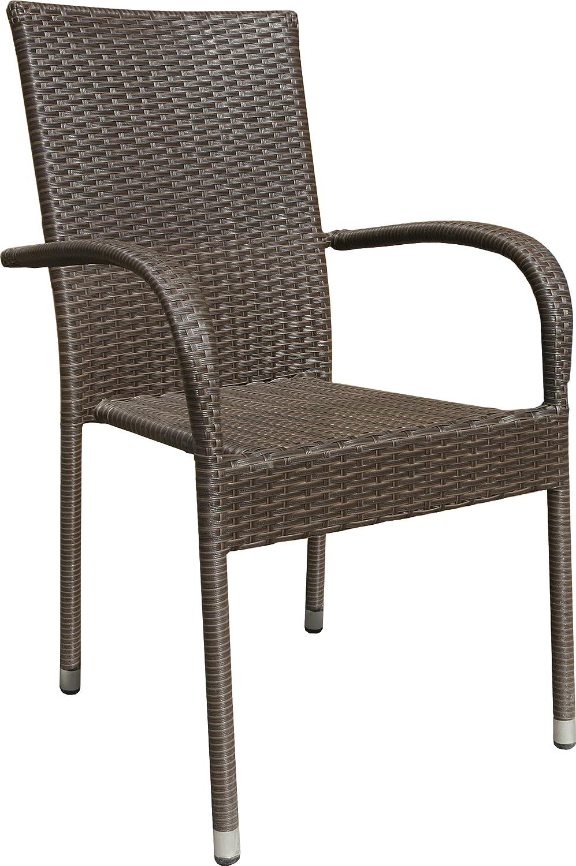 32x Hochwertiger Gartenstuhl Stapelstuhl Braun Bistrostuhl Balkonstuhl Poly Rattan Sessel Stapelbar Stuhl