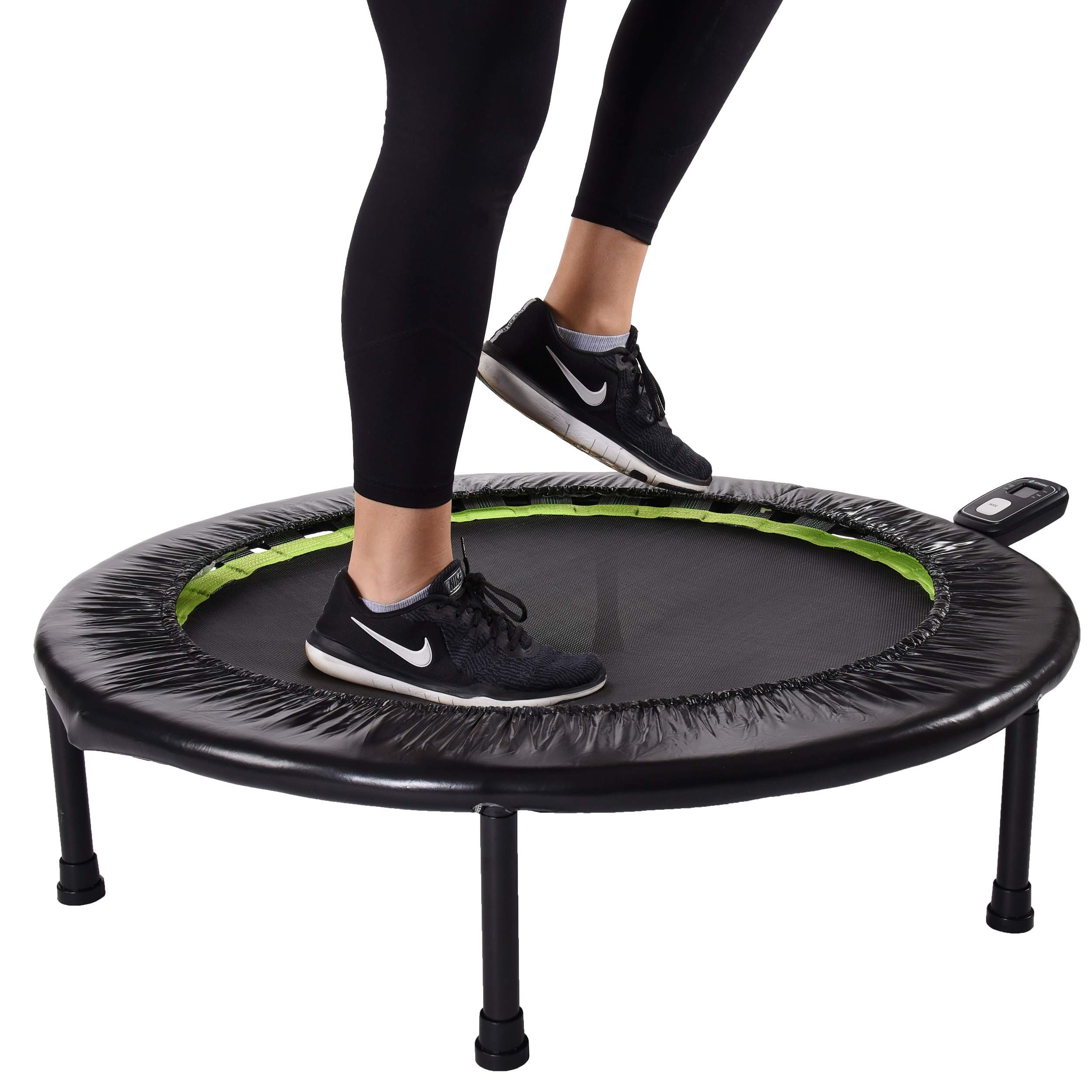 Stamina 1635 36-Inch Folding Trampoline | Quiet and Safe Bounce | Access to 3 Free Guided Online Workouts Included | Monitor Included | Stream from Any Device (Renewed)