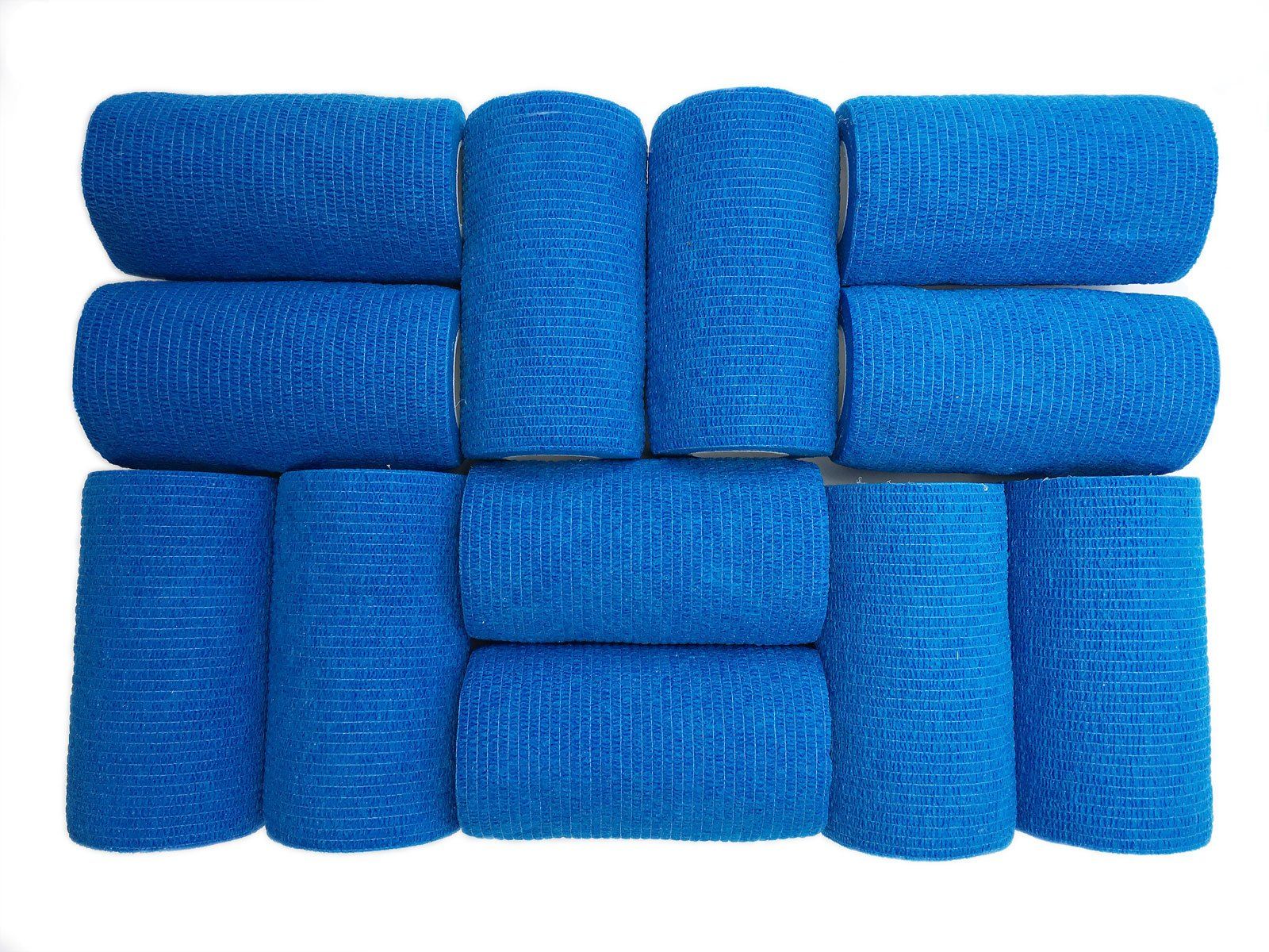WildCow 4'' Blue Vet Wrap Tape Bulk, 12 Pack Cohesive Bandage Wrap, Self Adherent Grip Rolls