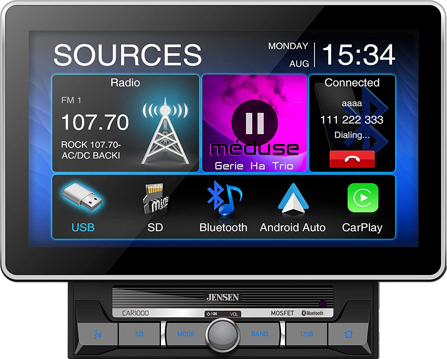 Jensen CAR1000 10.1 Extra Large Touchscreen Media Receiver with Apple CarPlay and Android Auto l Built-in Bluetooth with A2DP Music Streaming and Phonebook Support