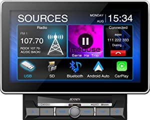 """Jensen CAR1000 10.1"""" Extra Large Touchscreen Media Receiver with Apple CarPlay and Android Auto l Built-in Bluetooth with A2DP Music Streaming and Phonebook Support"""