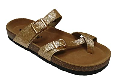 f4a3a4dbc301 OUTWOODS Women s Bork 62 Gold Glitter Birk Style Toe Loop Slide On Sandal  Size  7