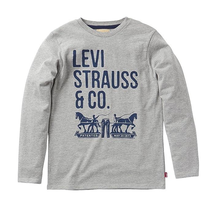 Levis N91007H-Camiseta Niños Gris (Grey Melange) 5 años
