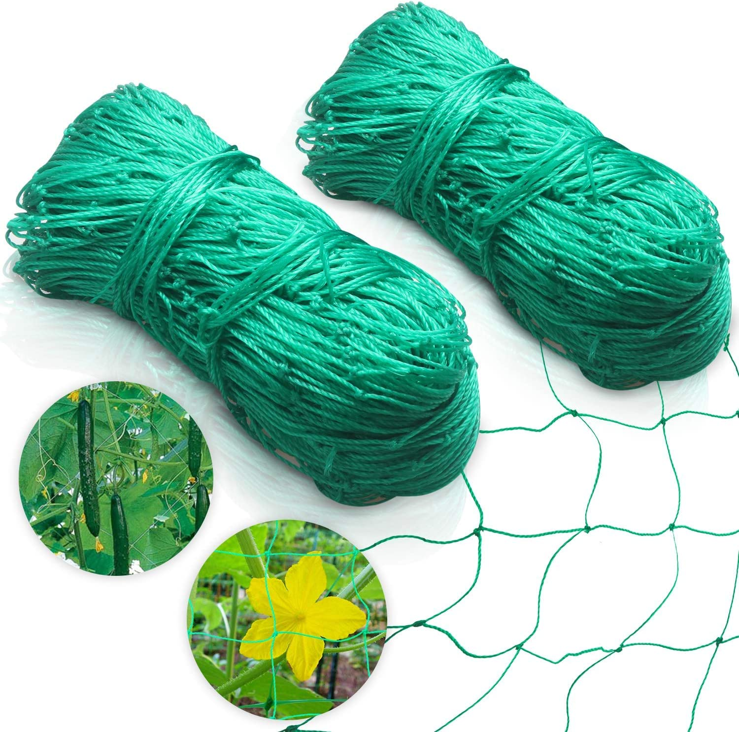 "Ponwec Heavy-Duty Garden Plant Trellis Netting Flexible Elastic Plant Support Vine Net Climbing Garden Trellis Net for Fruits & Vegetables Tomato Plants and More,2 Pack (6' x 16.5'Ft,4"" Mesh Size"