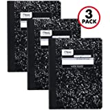 Mead Composition Notebooks, Comp Books, Wide Ruled Paper, 100 Sheets, 9-3/4 x 7-1/2 inches, Classic Black Marble, 3 Pack (38301)