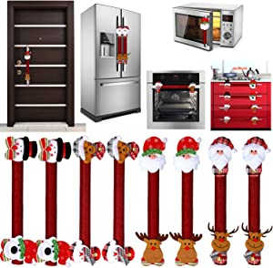 8 Pieces Christmas Refrigerator Door Handle Covers Santa Snowman Door Handle Covers Xmas Kitchen Appliance Covers for Christmas Fridge Microwave Dishwasher Handle Decorations (Style Set 1)