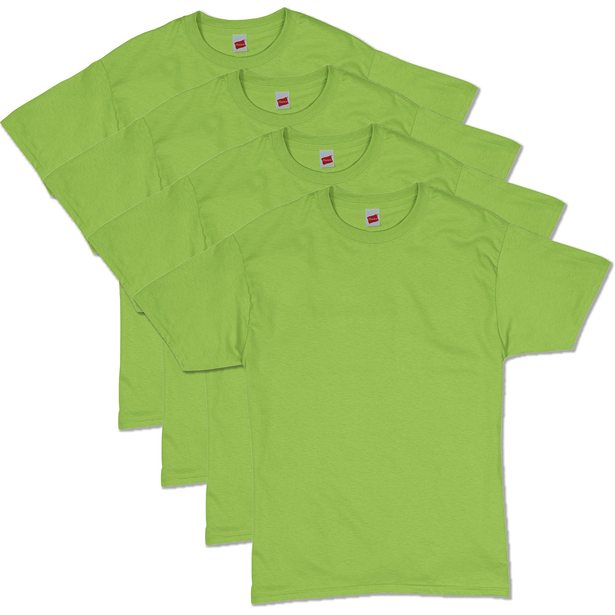 Hanes Men's Comfortsoft T-Shirt (Pack Of 4),Lime,3X-Large