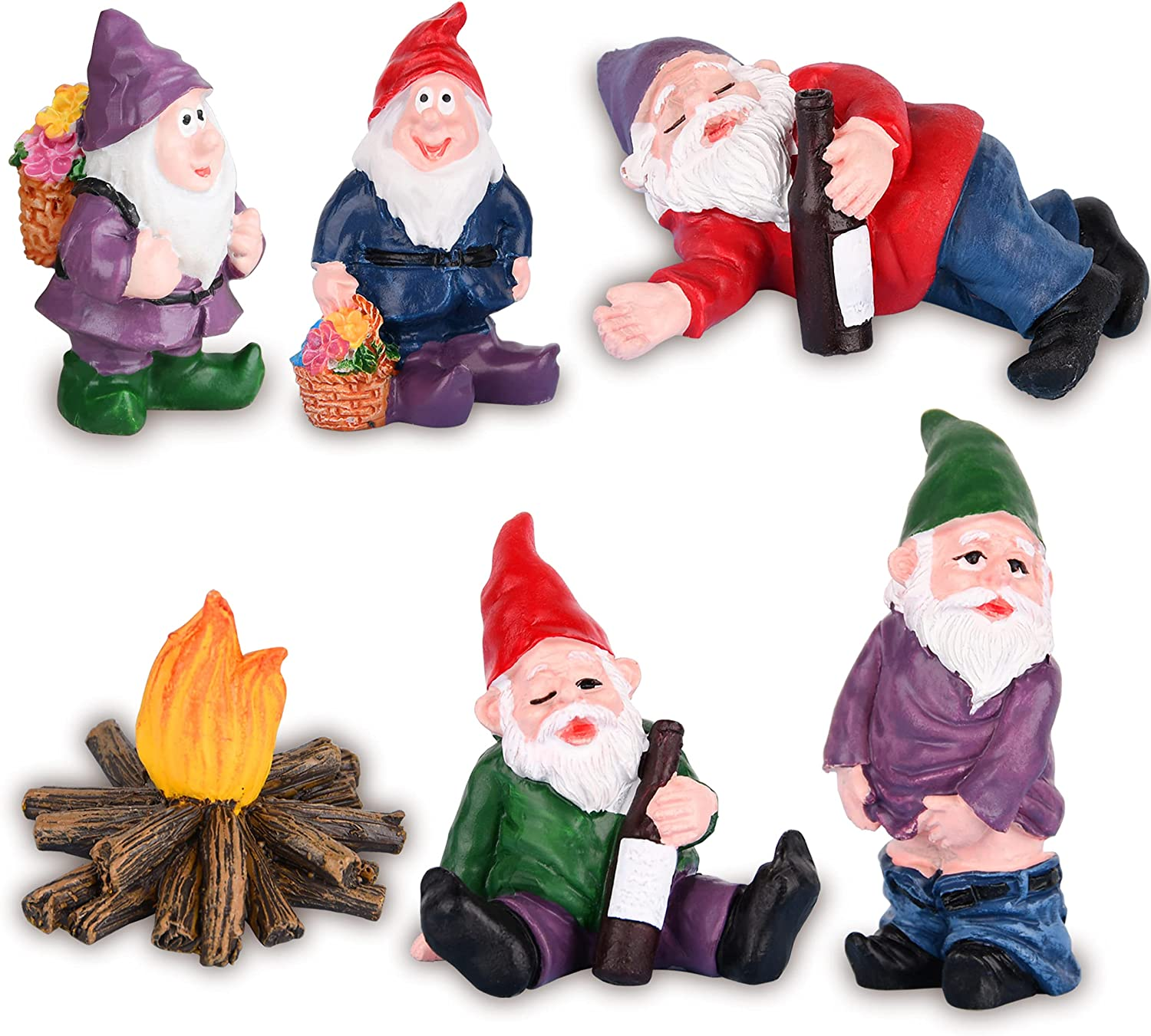 VAINECHAY Outdoor Decor Garden Statues Gnomes - Miniature Fairy Garden Accessories Outdoor Decoration Funny Gnome Statue Garden Miniatures Figurines Home Ornaments Outside Yard Lawn Decor Gifts