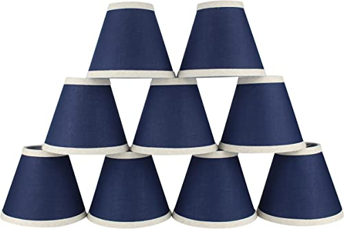 Urbanest Set of 9 Navy Blue 3-inch by 6-inch by 5-inch Cotton Chandelier Shade with Natural Linen Trim