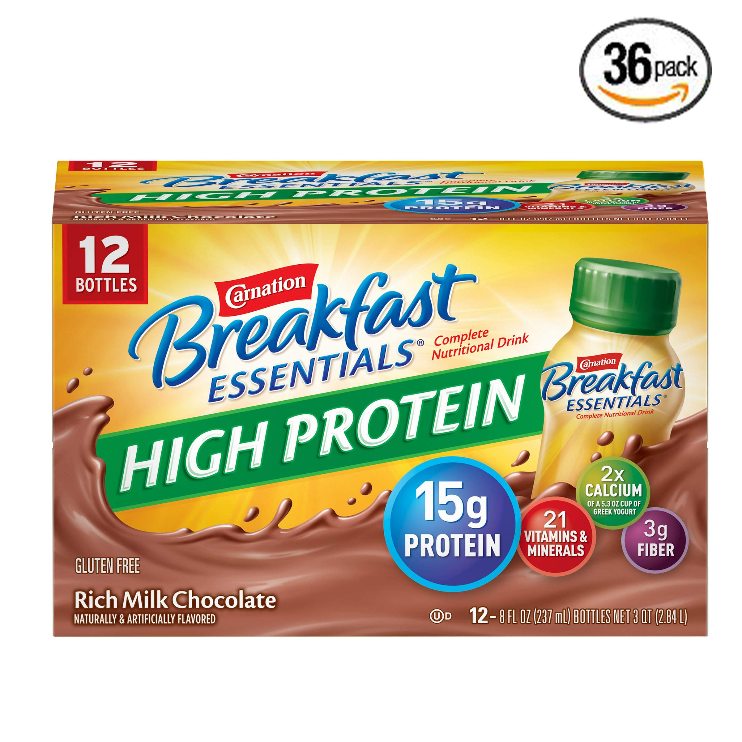 Carnation Breakfast Essentials High Protein Ready To Drink, Rich Milk Chocolate, 8 Fluid Ounce - Pack of 36