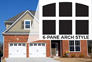 Garage Door Window Magnets by Jones Mountain | 6-Pane Arch Style Decorative Faux Magnetic Window Decals for 2-Car Metal Garage Doors Outdoor Pre-Cut for Easy Install with Magnetic Ruler Made in USA