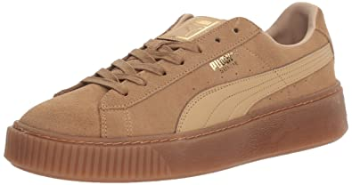 440aafec535 PUMA Women's Suede Platform core Fashion Sneaker, Oatmeal-Whisper White, ...