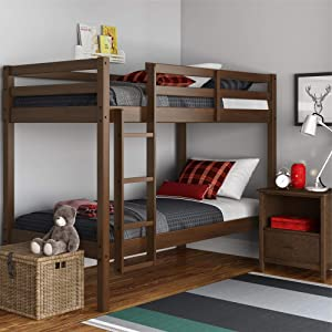 Dorel Living Indiana Solid Wood Beds with Ladder and Guardrail