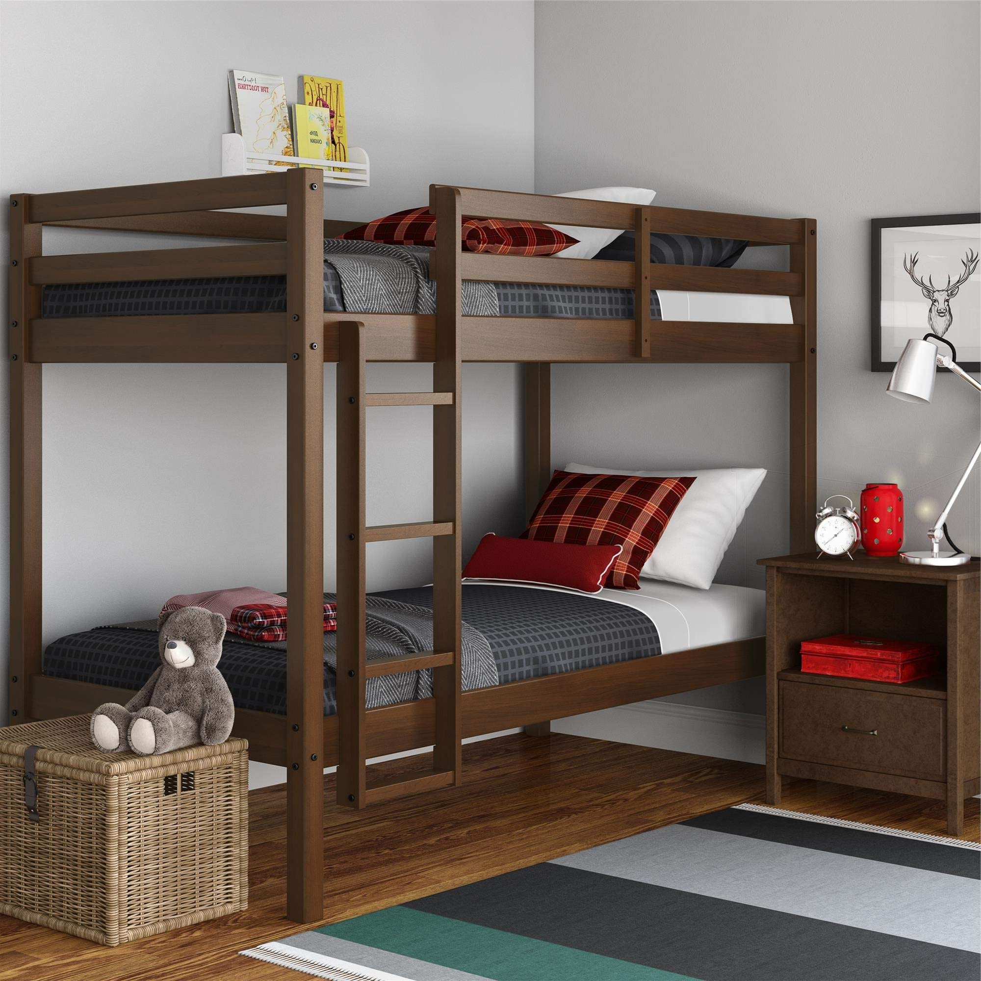 Dorel Living DA8378 Indiana Solid Wood Beds with Ladder and Guardrail, Mocha Twin Bunk