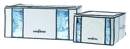 COMPACTOR Lote de 2 Cajas de Almacenaje Al Vacío, Talla XXL (210 l) y M (125 l), Blanco