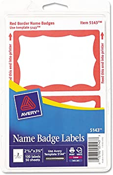 Avery 5143 Printable Self-Adhesive Name Badges Red Border 2 1//3 x 3 3//8 100//Pack