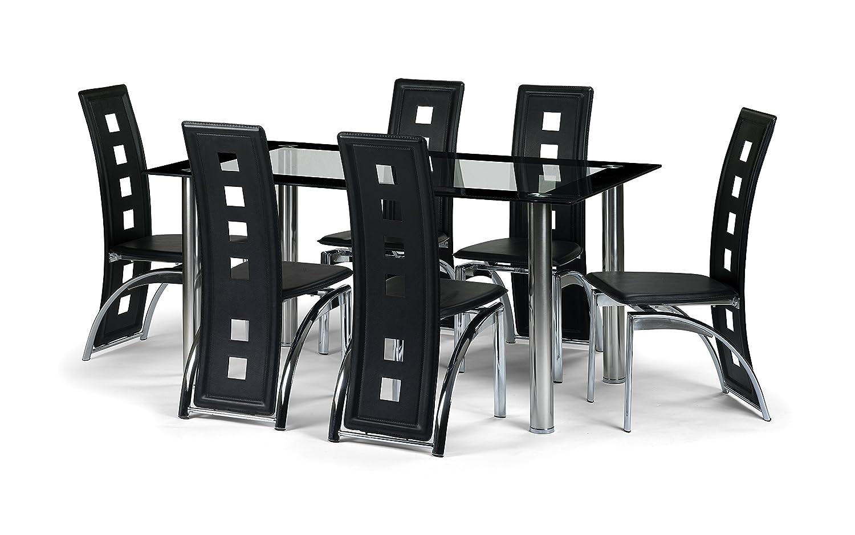 Julian Bowen Brescia Dining Table Set With 6 Chairs, Black: Amazon.co.uk:  Kitchen U0026 Home
