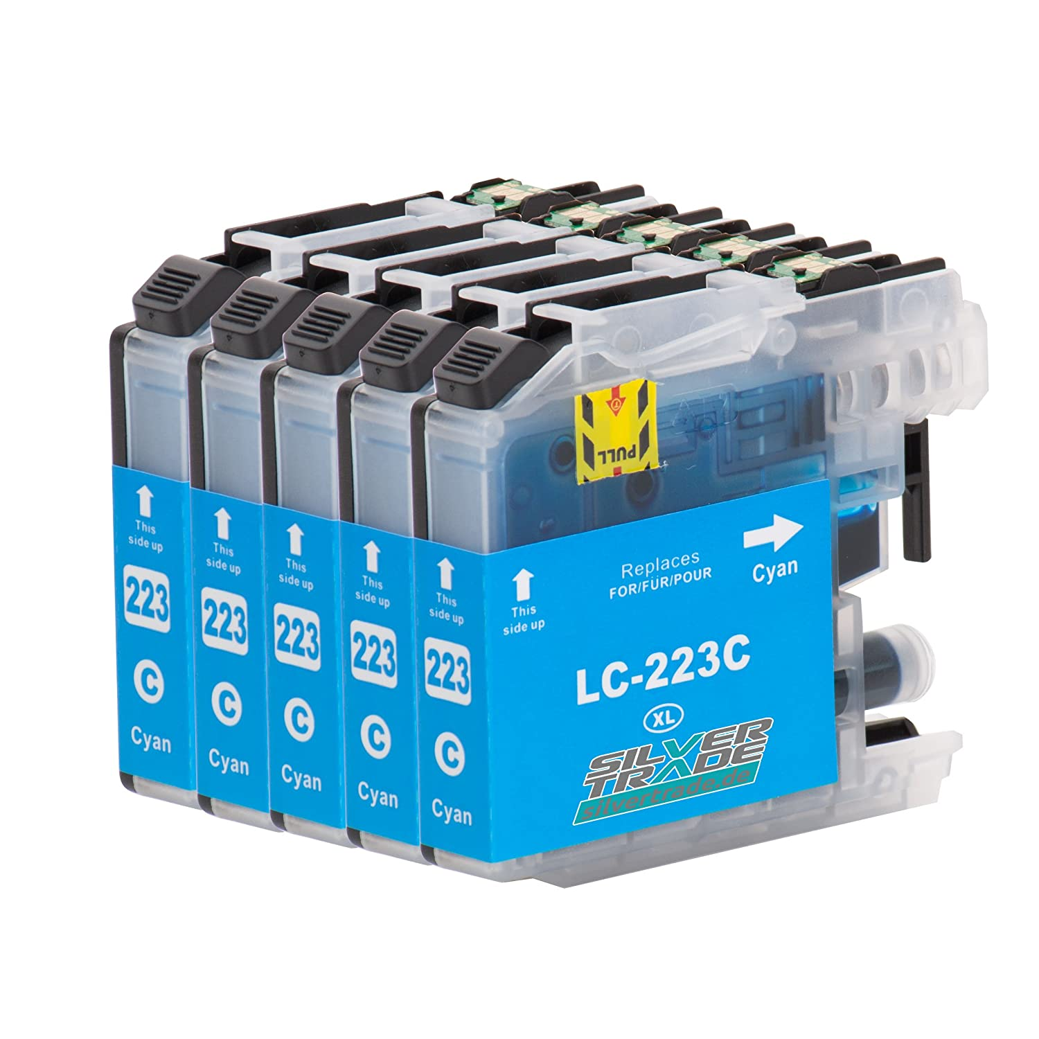 5 Cartuchos de tinta compatible para Brother LC223XL Cyan con chip para Brother DCP-J4120DW / MFC-J4420DW / MFC-J4620DW / MFC-J4625DW / MFC-J4425DW / ...