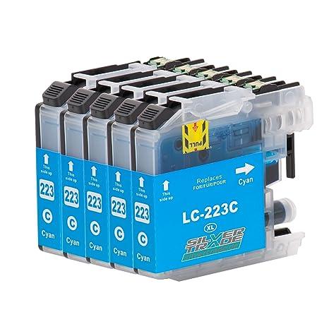 5 Cartuchos de tinta compatible para Brother LC223XL Cyan con chip ...