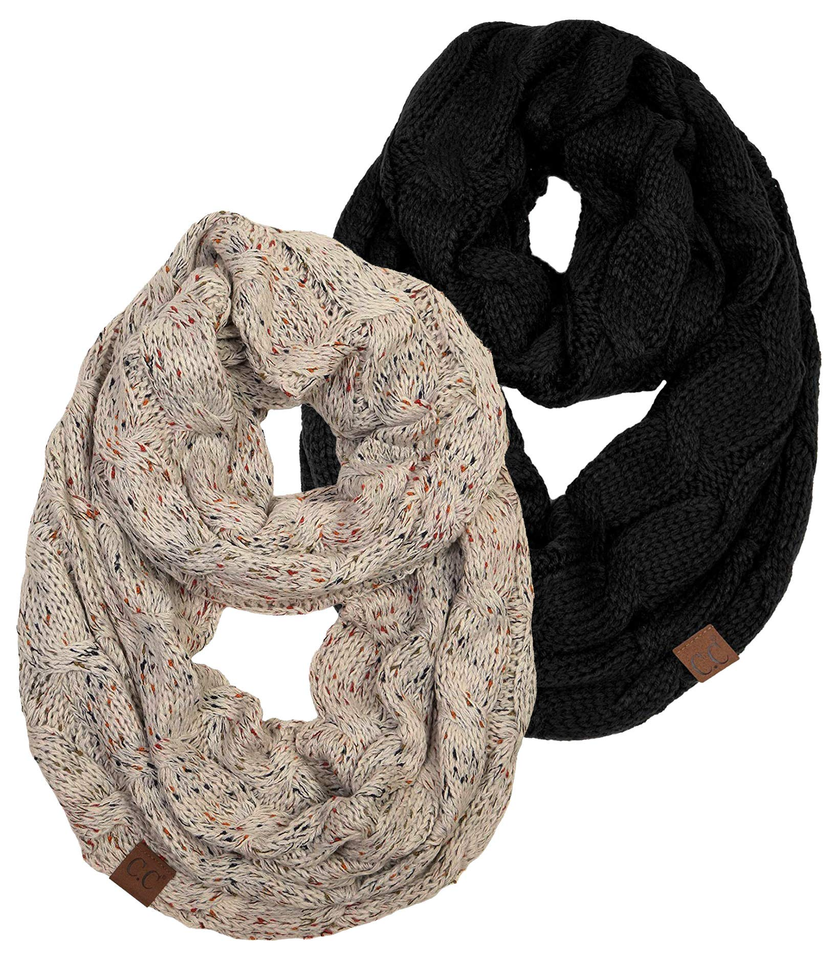 S1-2-6706 Infinity Scarf Bundle - 1 Confetti Oatmeal, 1 Solid Black (2 PACK) by Funky Junque
