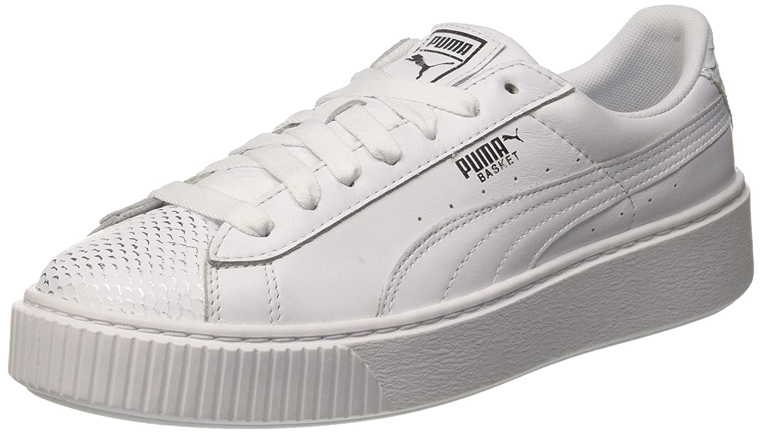 c28a74462cf1 Puma Women s Basket Platform Ocean WN s Silver White Sneakers-4 UK India  (37 EU) (4059505009632)  Buy Online at Low Prices in India - Amazon.in