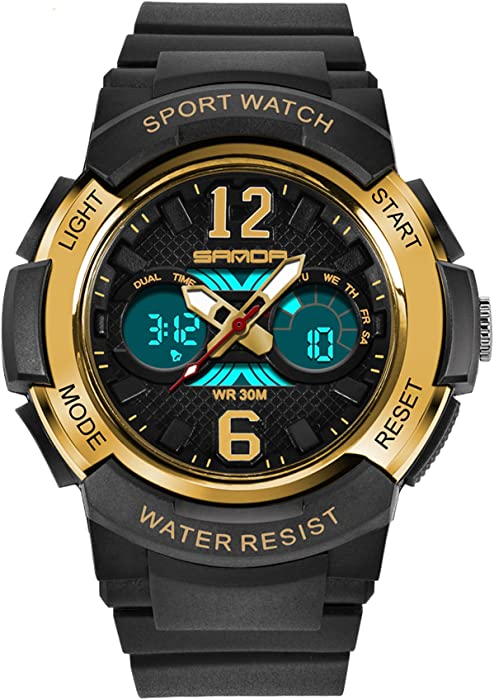 Sanda Kids Digital reloj electrónico de deporte al aire libre infantil impermeable niños niñas LED de alarma analógica relojes de pulsera Negro Oro