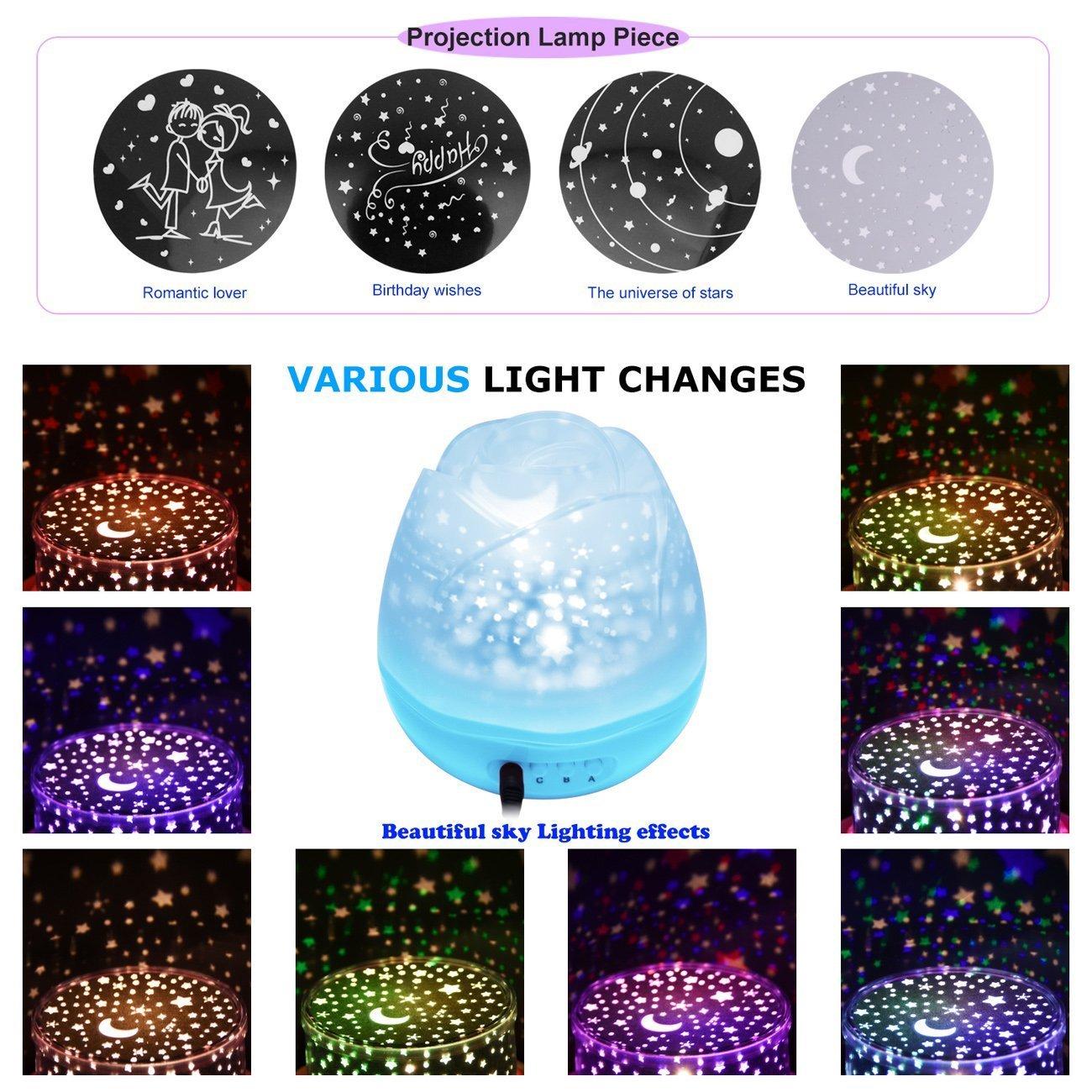 Liebhaber Blau Baby SUAVER Rosebud 360 Grad Romantische Stern LED Nachtlicht Mond Lampe Projektionslampe Schlafzimmer Rose Nachtlicht f/ür Kinder