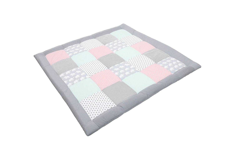 100x100 cm Baby Kuscheldecke, ideal als Laufgittereinlage, Spieldecke, Motiv: Punkte, Sterne ULLENBOOM /® Baby Krabbeldecke Elefant Mint Rosa
