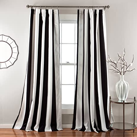 2 Piece 84 Inch Bold Black White Rugby Stripes Curtains Pair Panel Set,  Black Color