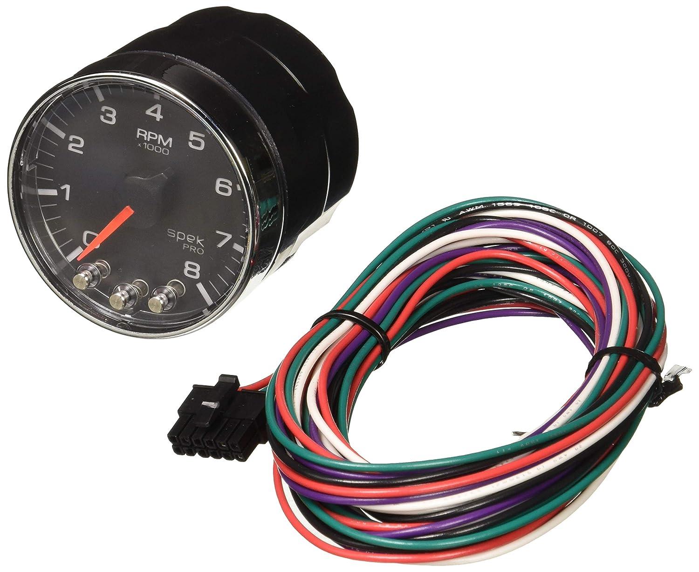 W//Shift Light /& Peak Mem Auto Meter P334318 Gauge Blk//Chrm Spek-Pro 2 1//16 2 1//16 8K RPM Tach
