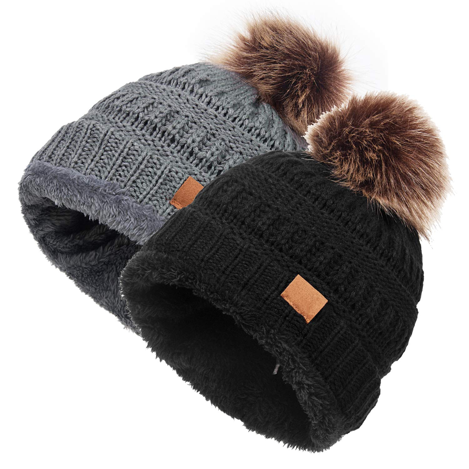 Ymombest Womens Winter Hats Soft Cable Knit Cap Warm Fleece Lined Beanie Hat