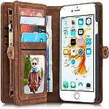 """iPhone 6/6s Plus 5,5""""Case Hülle Geldbörse mit Kartenfächer,Braun, Geldscheinfach mit Reißverschluss abnehmbar Magnet Handy Schutzhülle"""
