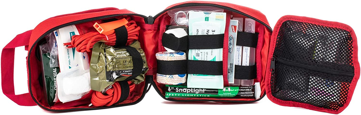 My Medic MyFak First Aid Kit - Water Resistant Bag, Bandages, Burn Aids, CPR Shield, Survival First Aid Kit, Airway, Tourniquet, Stainless Steel Instruments - Advanced - Red: Health & Personal Care