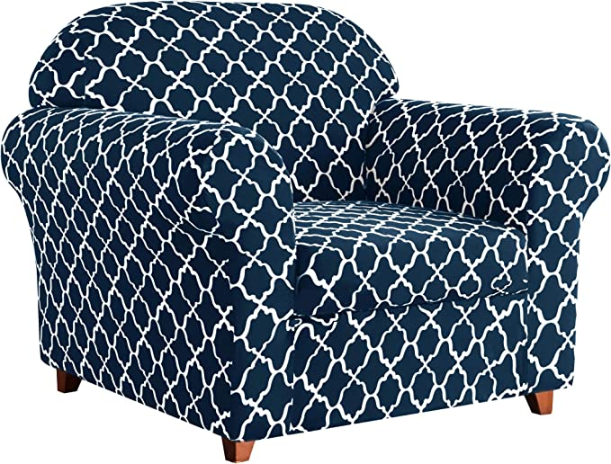 Subrtex Sofa Slipcovers Stretch Printed Couch Covers 2-Piece Spandex Furniture Cover Protector Armchair Cover Home Decor(Chair, Navy)